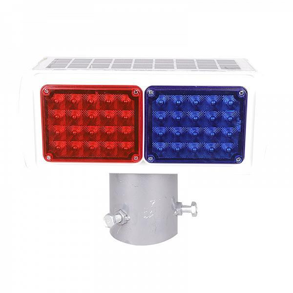 太阳能爆闪灯双面两灯工地施工安全信号灯施工红蓝灯