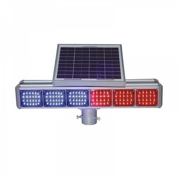 太阳能爆闪灯双面分体工地施工安全信号灯施工红蓝灯