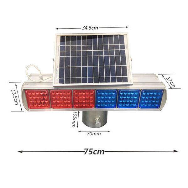 太阳能爆闪灯双面六组六格LED爆闪灯工地施工信号灯红蓝灯