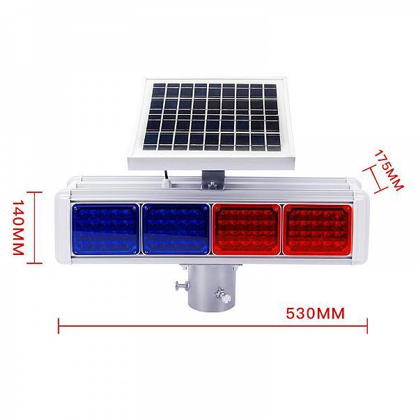 太阳能爆闪灯双面四灯工地施工安全信号灯施工红蓝灯